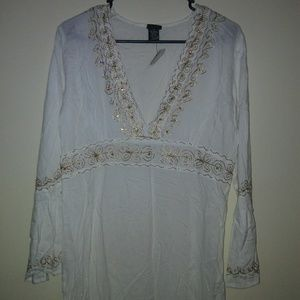 New Cejon Womens  cover up size M ivory white